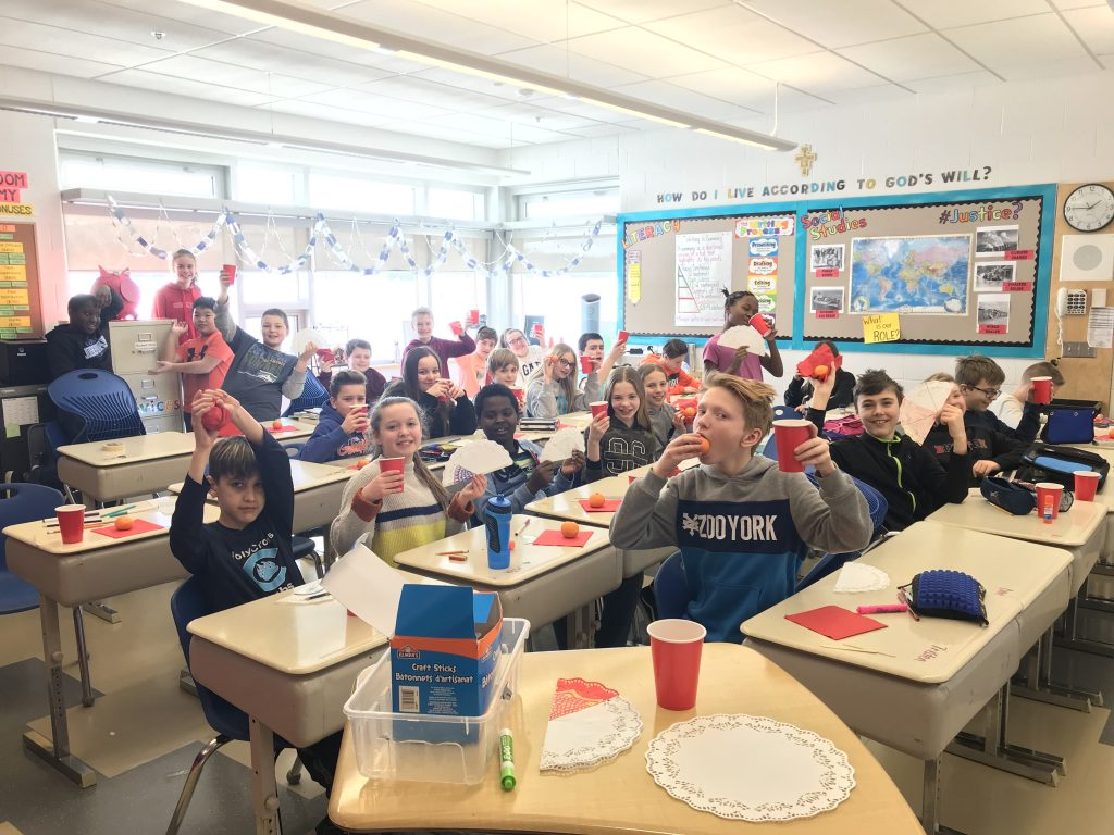 Grade 6 Students at Holy Cross School acknowledge Lunar (Chinese) New Year
